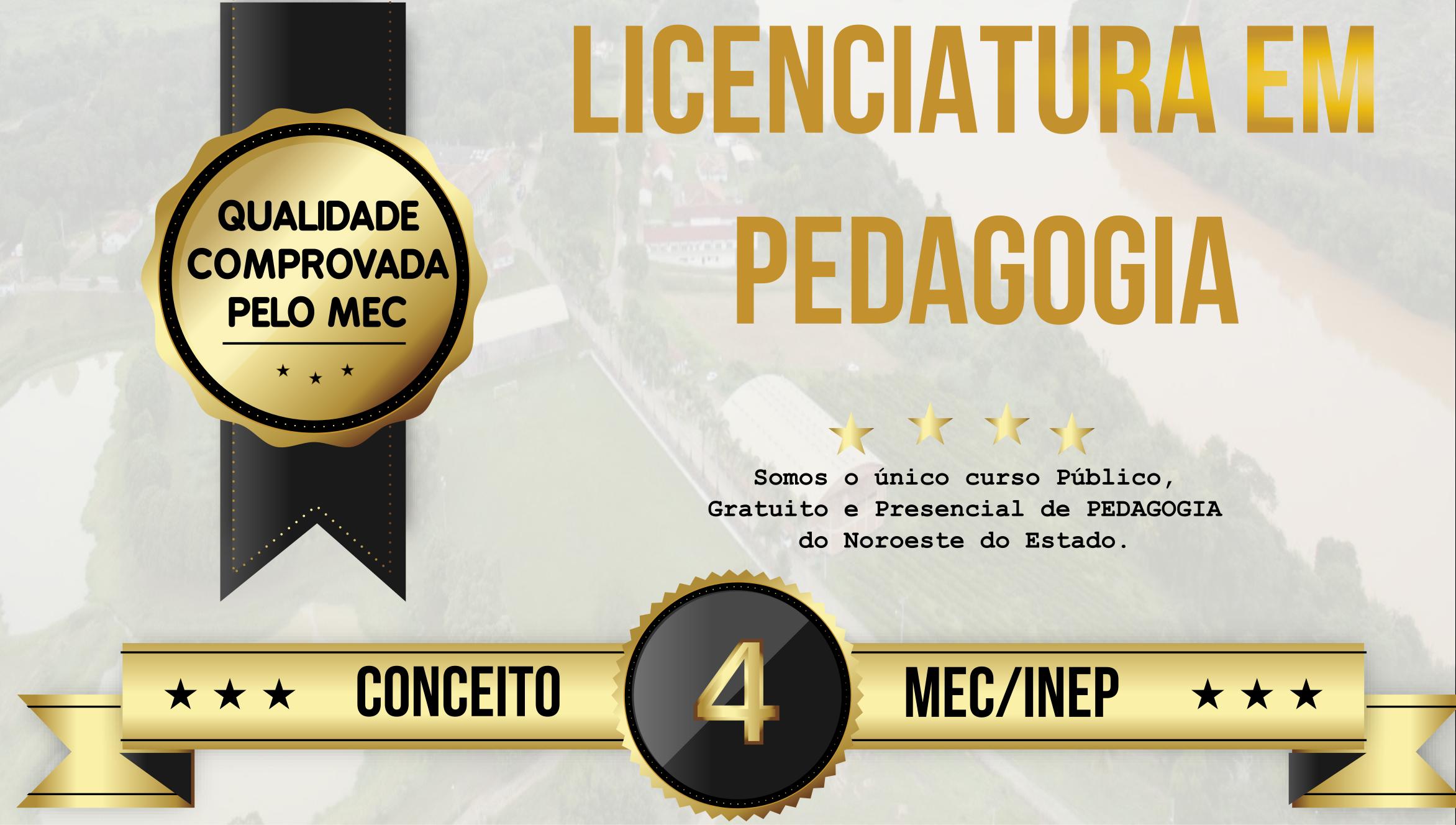 Curso de Licenciatura em Pedagogia é avaliado com nota 4 pelo MEC